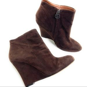 Sam Edelman Suede Wedge Ankle Booties Wilma